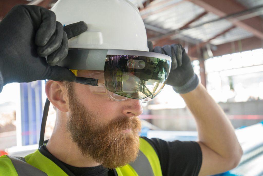 a man wearing ar headset