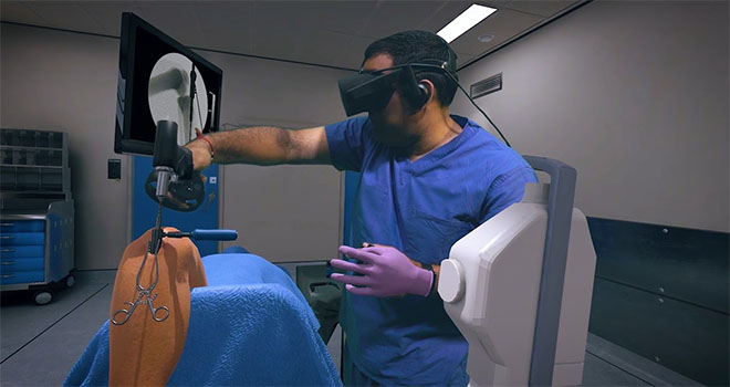 a doctor wearing vr headset and training on a surgery